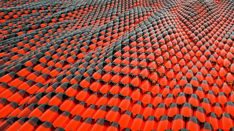 Animering av röd metallisk flytande för abstrakt våg med reflexioner framförande 3d arkivbild