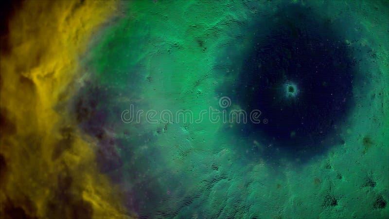 Animering av rymdfarten till och med guling- och gräsplannebulosan Fluga till och med yttre rymdnebulosan och stjärnor arkivbilder