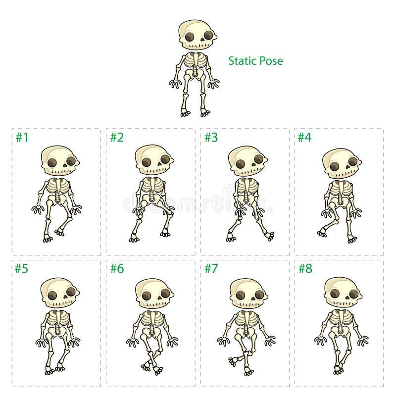 Animering av skelett- gå stock illustrationer