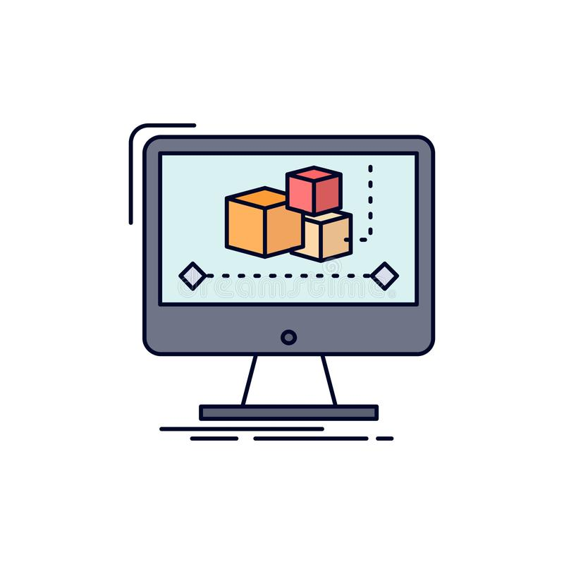 Animering dator, redaktör, bildskärm, för färgsymbol för programvara plan vektor stock illustrationer