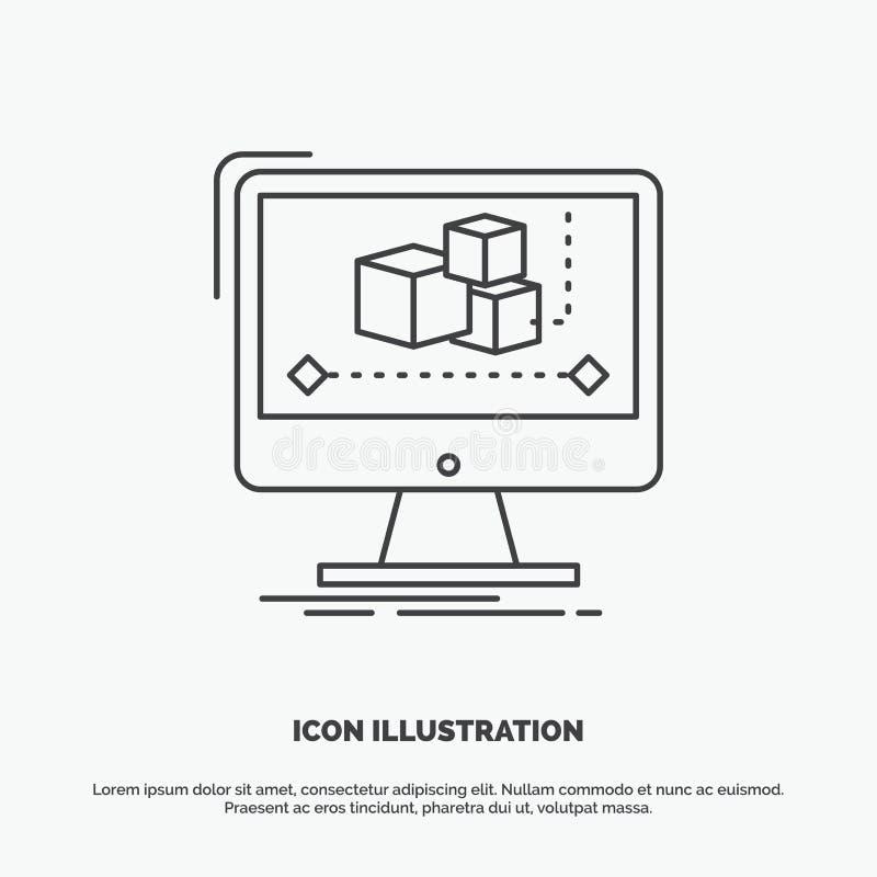 Animering dator, redakt?r, bildsk?rm, programvarusymbol Linje gr?tt symbol f?r vektor f?r UI och UX, website eller mobil applikat stock illustrationer