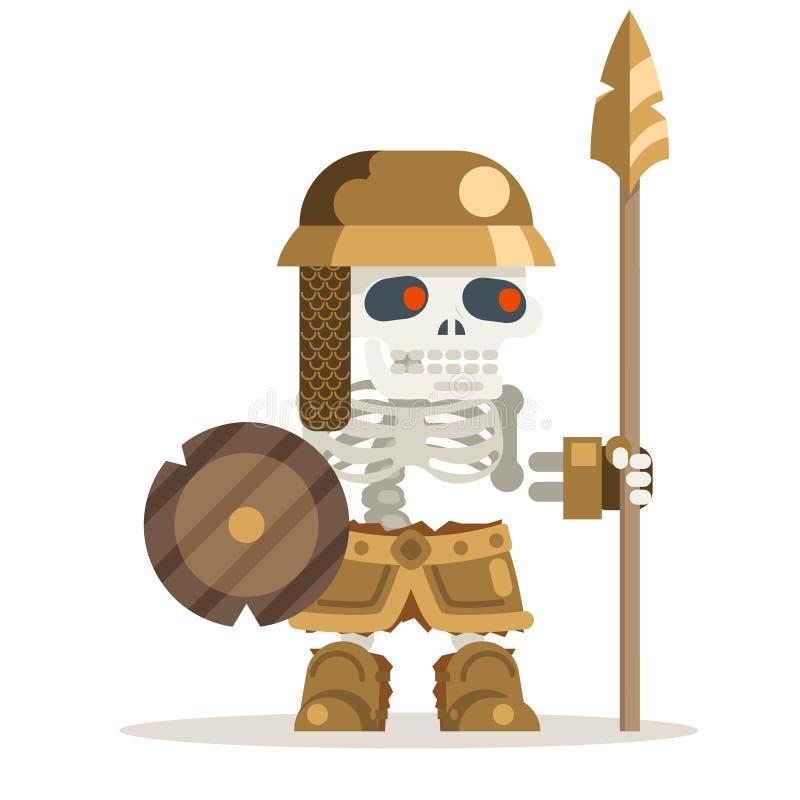 Animering för medeltida för handling för fantasi för krigare för skelett- undeadförmyndare forntida död återuppväckt i lager teck royaltyfri illustrationer