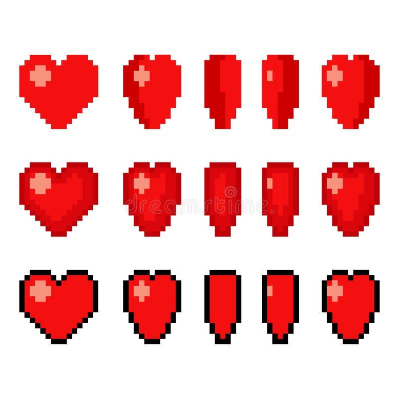 Animering för PIXELkonsthjärta stock illustrationer