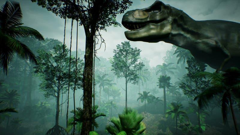 Animering för T Rex Tyrannosaur Dinosaur i djungel Realistiskt framför framförande 3d royaltyfri illustrationer