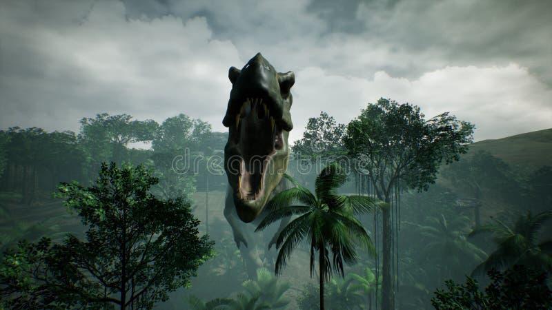 Animering för T Rex Tyrannosaur Dinosaur i djungel Realistiskt framför framförande 3d vektor illustrationer