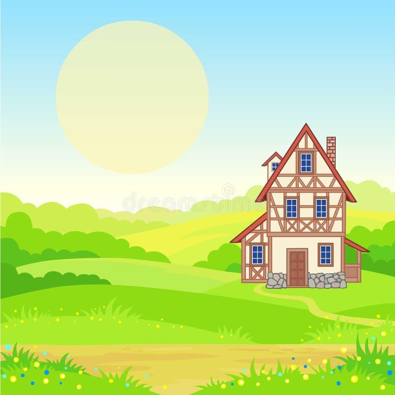 Animeringbakgrund - det forntida huset, de blomstra ängarna vektor illustrationer