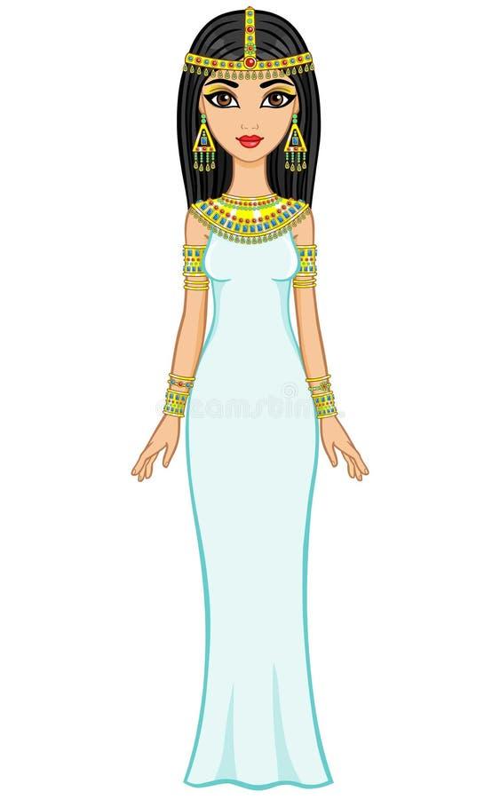 Animeringegyptierprinsessa royaltyfri illustrationer