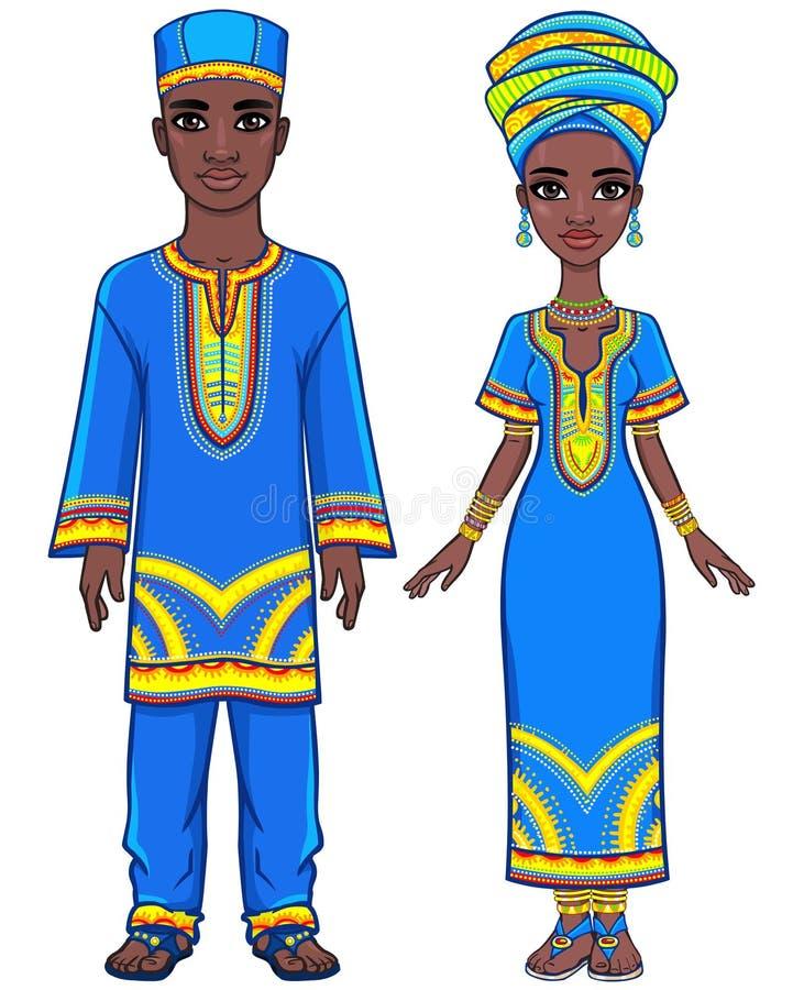 Animeringstående av den afrikanska familjen i etnisk kläder vektor illustrationer