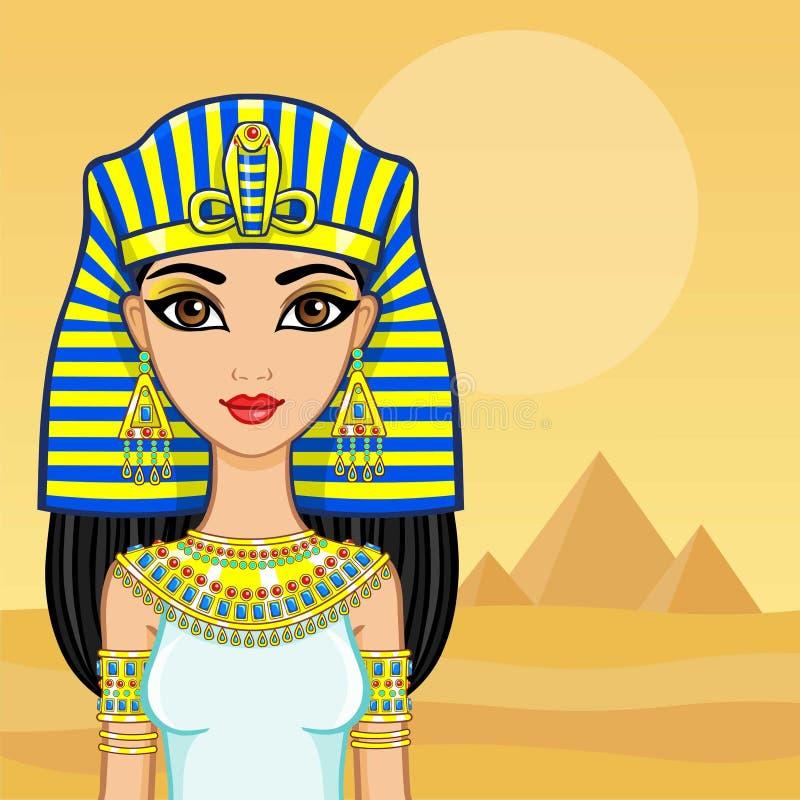 Animeringstående av den egyptiska drottningen En bakgrund - ett landskap öknen, pyramider Stället för texten stock illustrationer