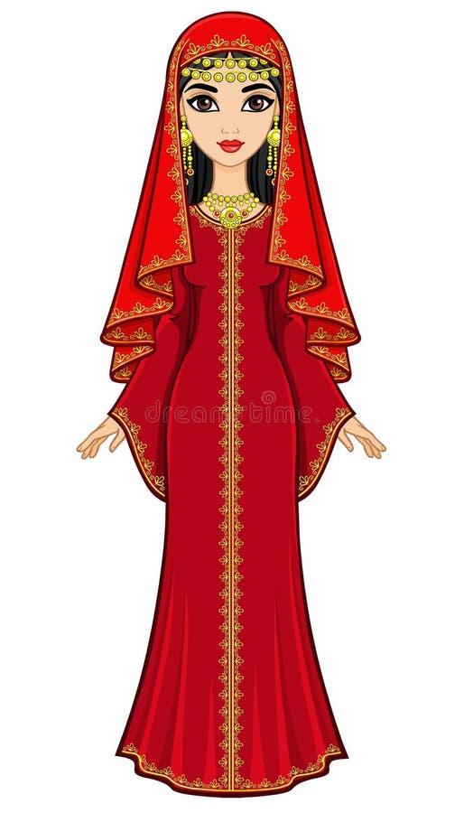 Animeringstående av den härliga arabiska kvinnan i forntida dräkt: den långa klänningen, skyler stock illustrationer