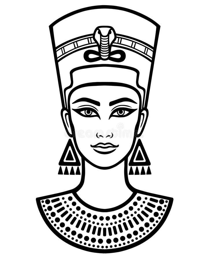 Animeringstående av den härliga egyptiska kvinnan vektor illustrationer
