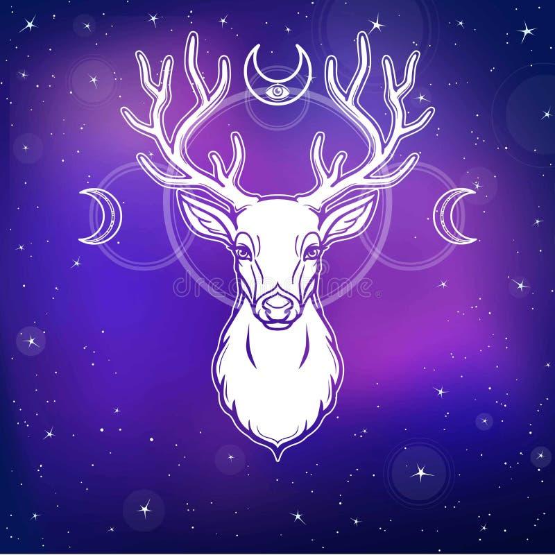 Animeringstående av en horned hjort - en wood ande, den hedniska guden, försvararen av naturen royaltyfri illustrationer
