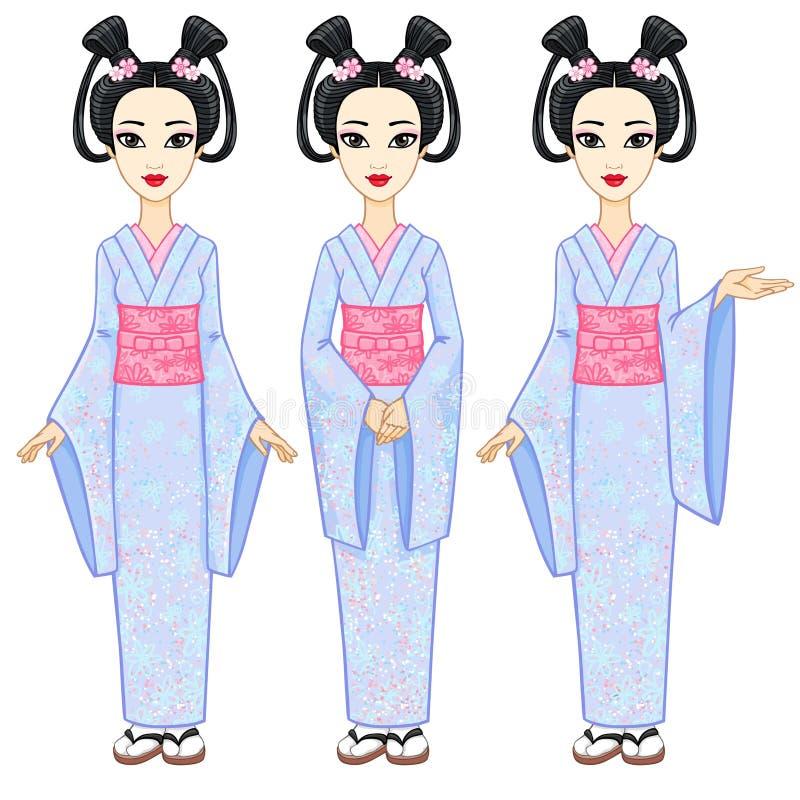 Animeringstående som den härliga japanska flickan i olika tre poserar Geisha maiko, prinsessa full tillväxt vektor illustrationer