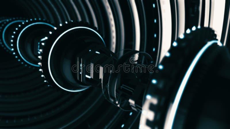 Animierter futuristischer Tunnel von 3d rotierenden Chromkreisen mit länglicher Elektronik auf schwarzem Hintergrund stock abbildung