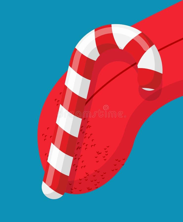 Aning för julpepparmintklubba mintkaramellpinne som slickar tungan D stock illustrationer