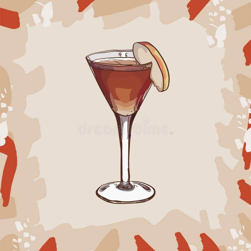 Anioł twarz, alkohol, morela smaku koktajlu Współczesna klasyczna ilustracja Alkoholiczka baru napoju ręka rysujący wektor ilustracja wektor