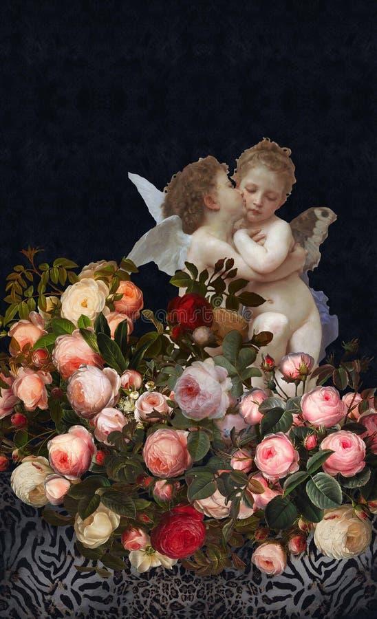 Aniołów cajgów tekstury kwiatów ogród obrazy royalty free