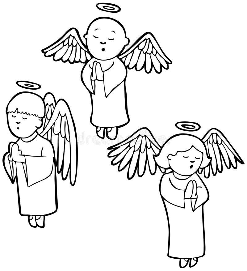 aniołów czarny modlenia biel ilustracja wektor