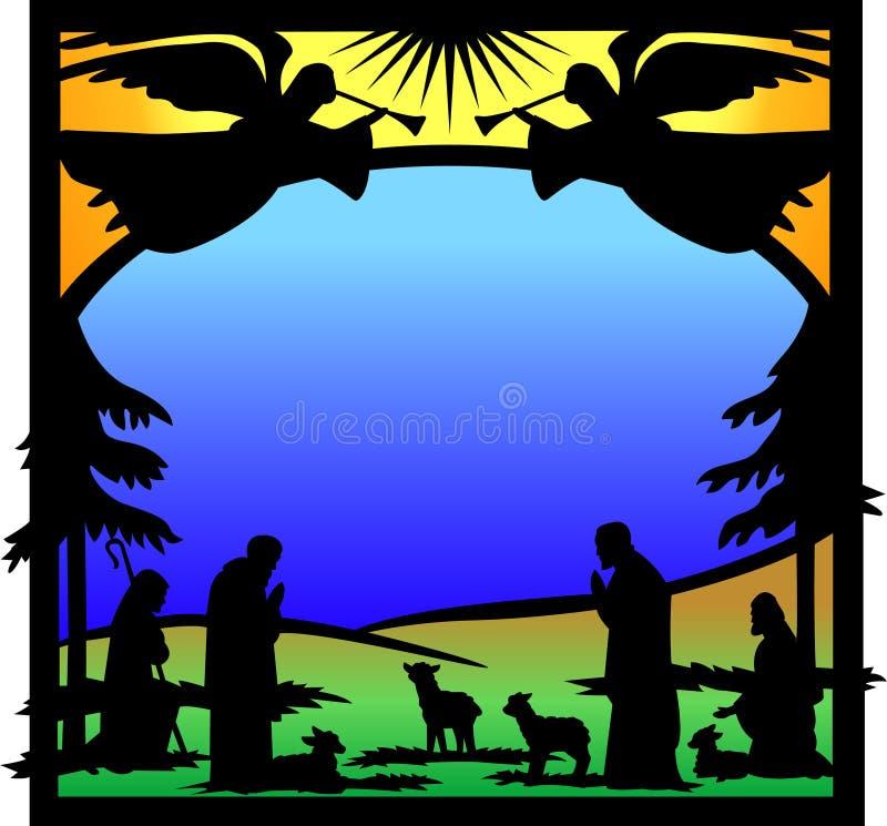 aniołów eps narodzenia jezusa sylwetka ilustracji