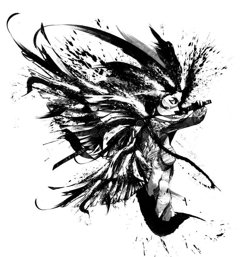 Aniołów samurajów śmiertelny skok royalty ilustracja