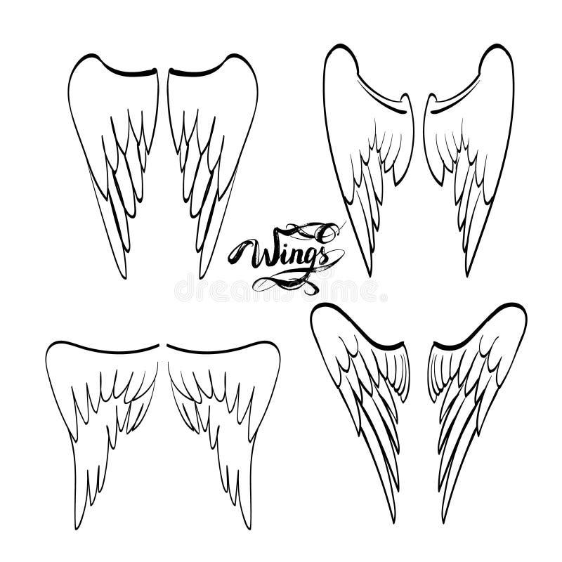 aniołów skrzydła, literowanie, rysuje ilustracja wektor