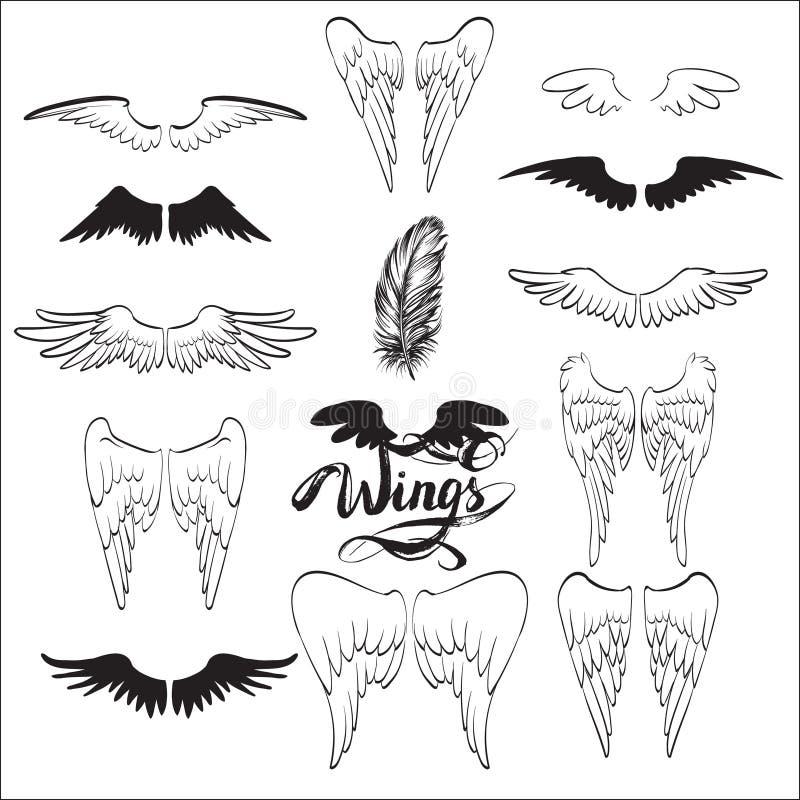 aniołów skrzydła, literowanie, rysuje ilustracji