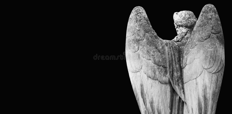 Anioł śmierć jako symbol końcówka życie starożytna posąg obrazy royalty free