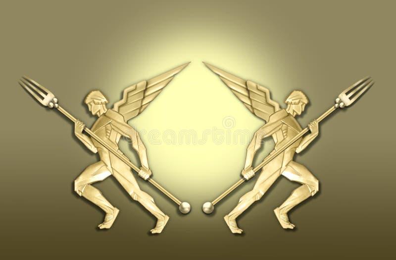 anioł art deco widelce rama złoty w royalty ilustracja