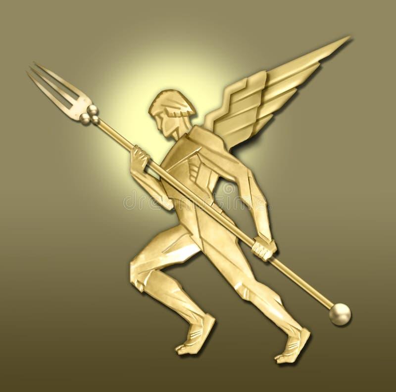 anioł art deco widelec w golden royalty ilustracja