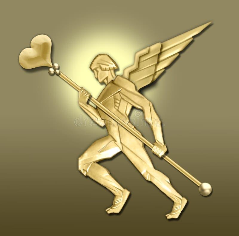 anioł art deco złote serce ilustracji