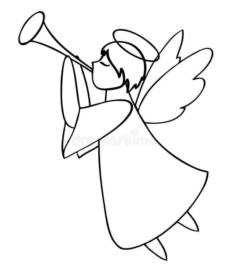 anioł bawić się trąbkę ilustracja wektor ilustracja