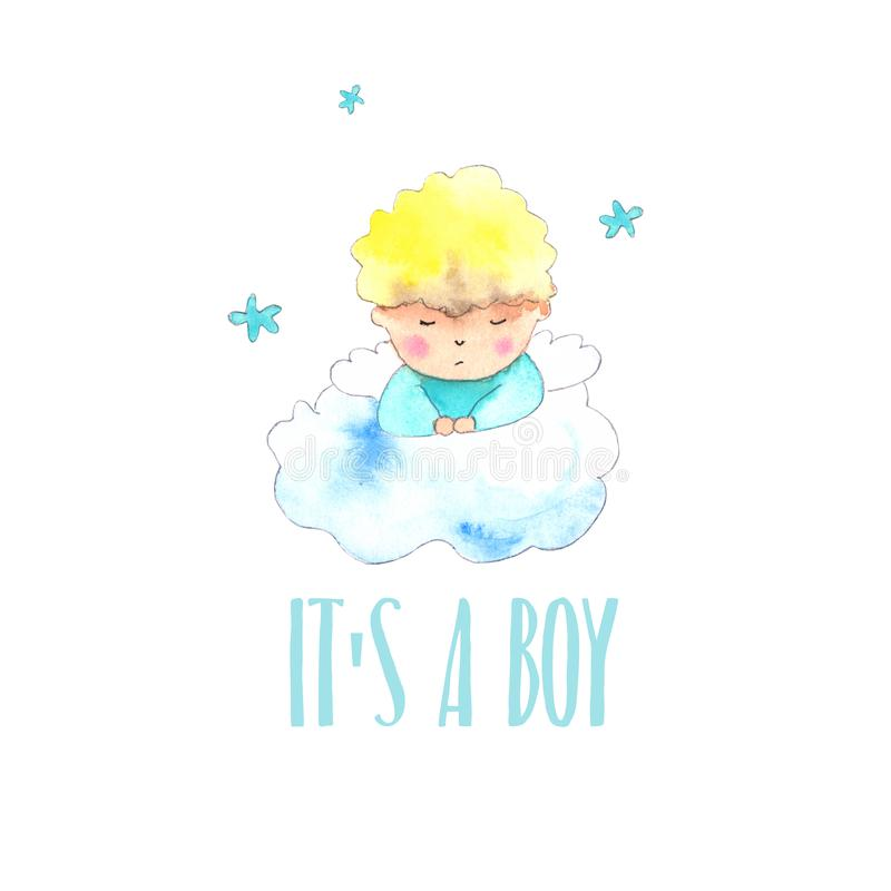 Anioł chłopiec nowonarodzona karta ilustracji