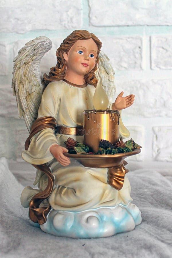 Anioł dziewczyna z świeczką obraz stock