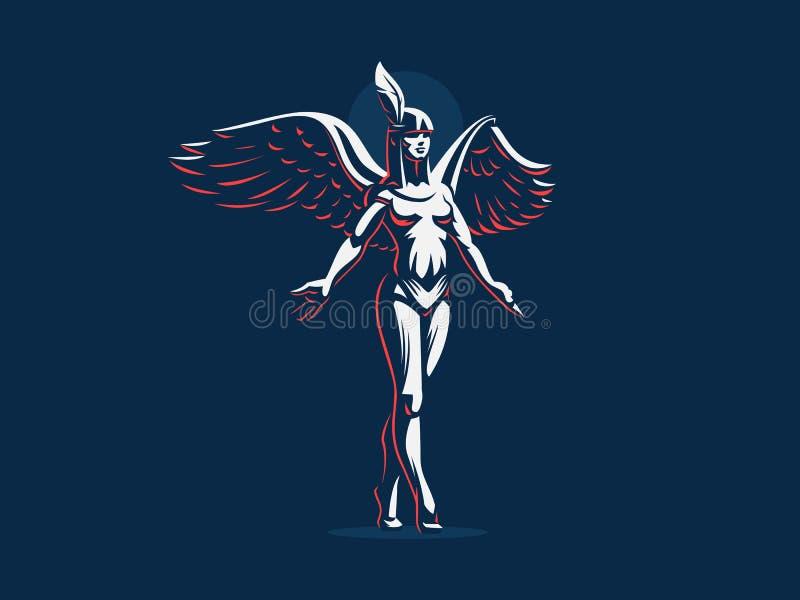 Anioł dziewczyny kroki na tiptoe z rękami rozprzestrzeniają i skrzydła royalty ilustracja