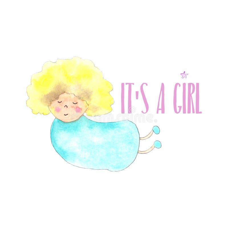 Anioł dziewczyny nowonarodzona karta ilustracja wektor
