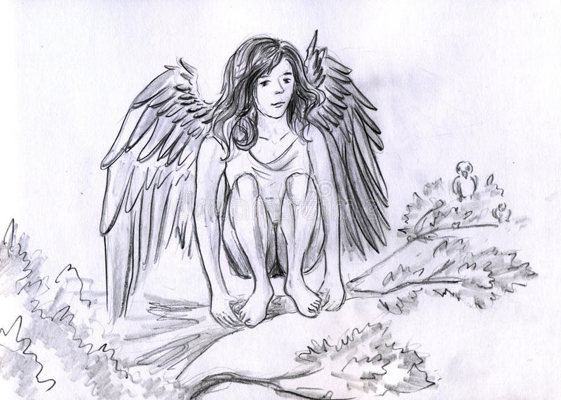 Anioł Gałąź Obrazy Royalty Free