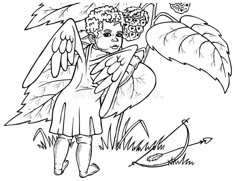 Anioł i jagoda royalty ilustracja