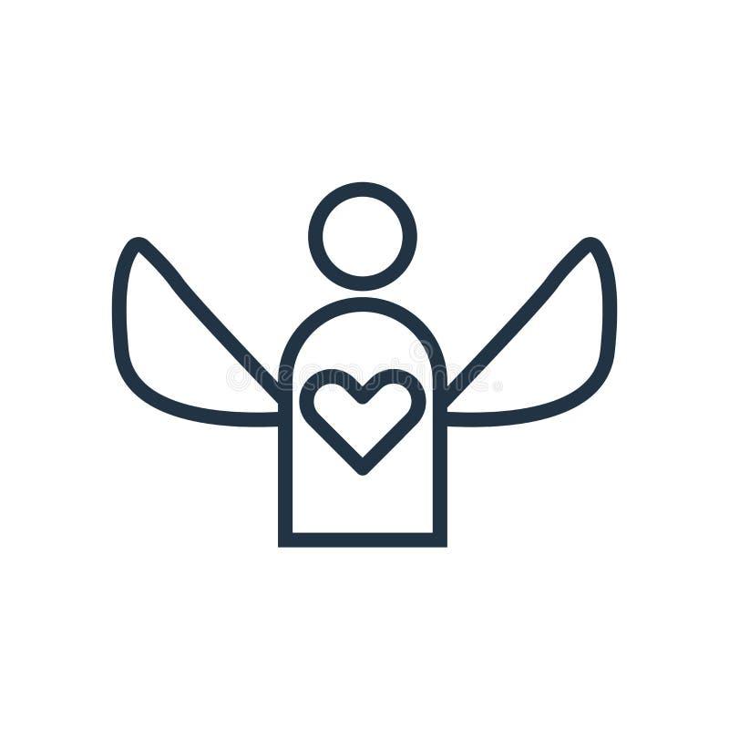Anioł ikony wektor odizolowywający na białym tle, anioła znak ilustracji