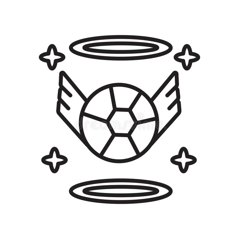 Anioł ikony wektor odizolowywający na białym tle, anioła znak, znak i symbole w cienkim liniowym konturze, projektujemy royalty ilustracja