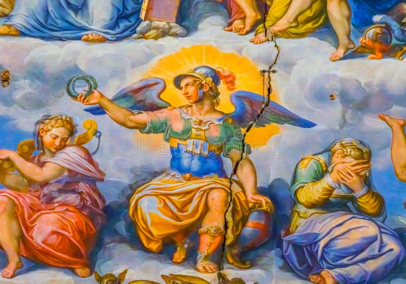Anioł korony Vasari fresku kopyto_szewski osądzenia kopuły Duomo katedra Flo obrazy royalty free