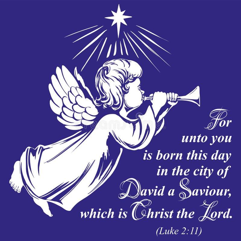 Anioł lata trąbkę i bawić się, religijny symbol chrystianizmu ręka rysujący wektorowy ilustracyjny nakreślenie royalty ilustracja