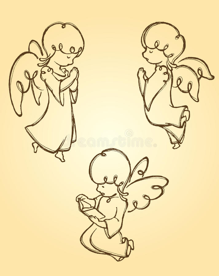 Anioł Modli się nakreślenie ilustracja wektor