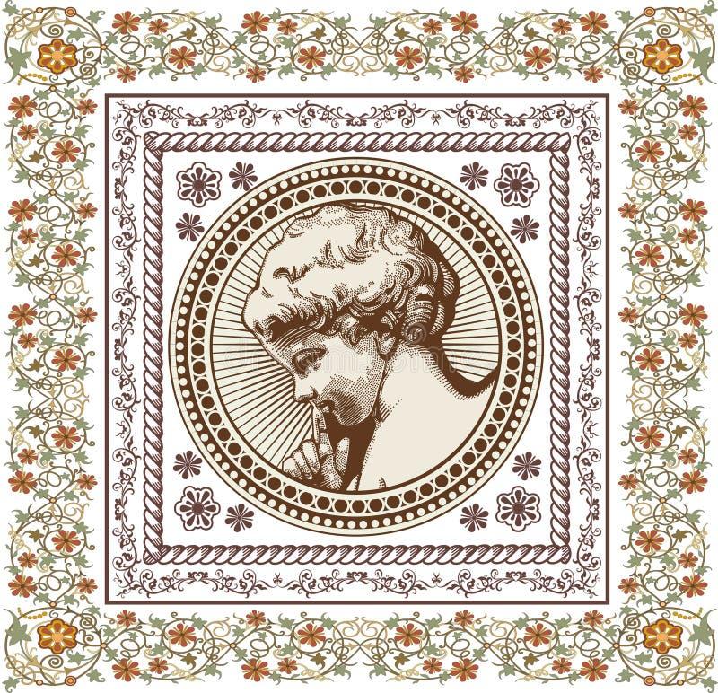 anioł modlitwa retro Chłopiec dziecka dziecko Ramowa karta Rysować, graweruje Rocznika tła realistyczni kwiaty również zwrócić co ilustracja wektor