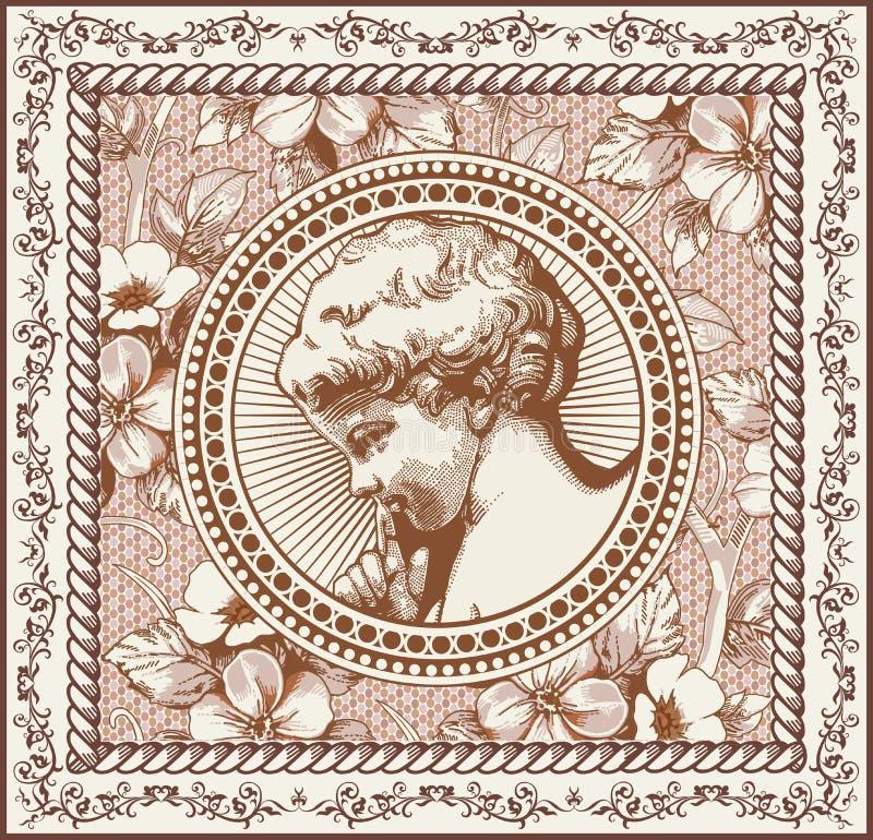 anioł modlitwa retro Chłopiec dziecka dziecko Ramowa karta Rysować, graweruje Rocznika tła realistyczni kwiaty również zwrócić co royalty ilustracja
