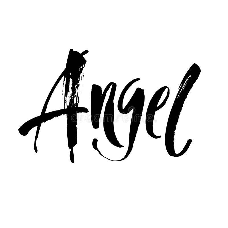 Anioł - ręcznie pisany literowanie Nowożytny muśnięcie styl odizolowywający na białym tle wektor ilustracji