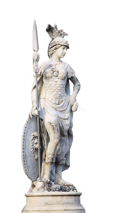 Anioł statua z dzidą odizolowywającą na bielu zdjęcie royalty free