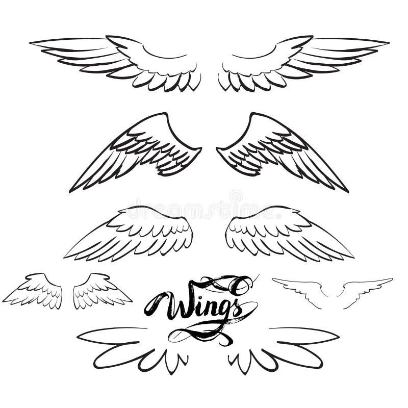 Anioł uskrzydla wektor, literowanie, rysuje royalty ilustracja