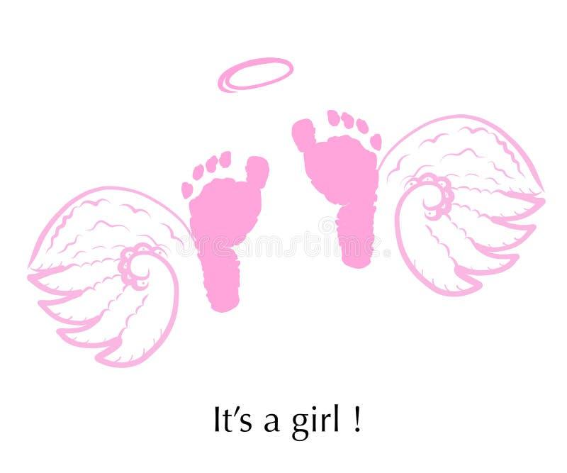 Anioł uskrzydla z dziecko nożnymi drukami dziewczyna jest Dziecko rodzaj wyjawia Dziecko prysznic kartka z pozdrowieniami ilustracji