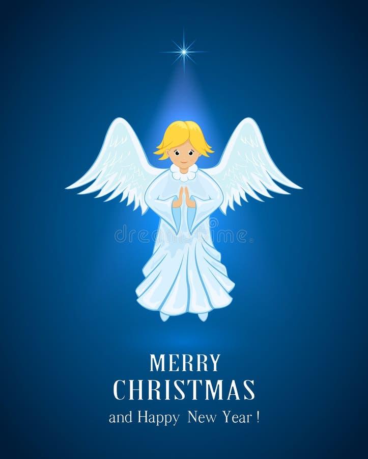 Anioł w niebieskim niebie ilustracji