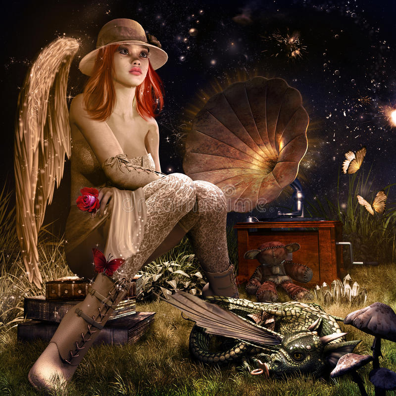 Anioł z czerwieni różą ilustracji